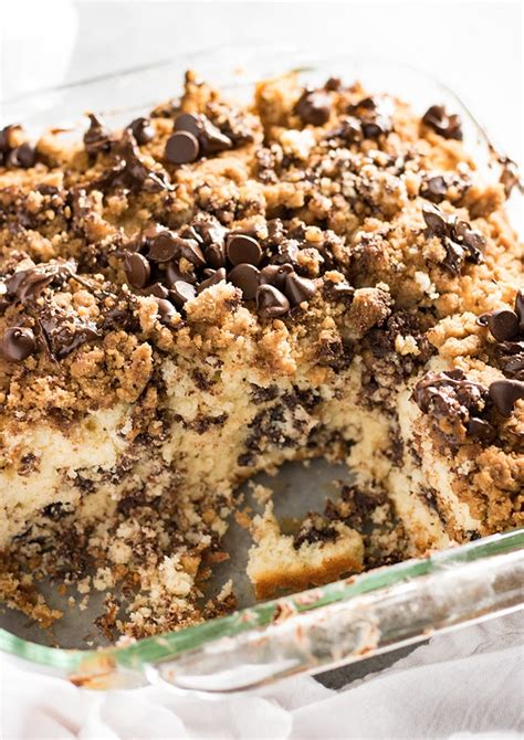 Gently mix half the sour cream into the batter, then pour half the batter into your prepared cake pan. Chocolate Chip Coffee Cake - The Salty Marshmallow