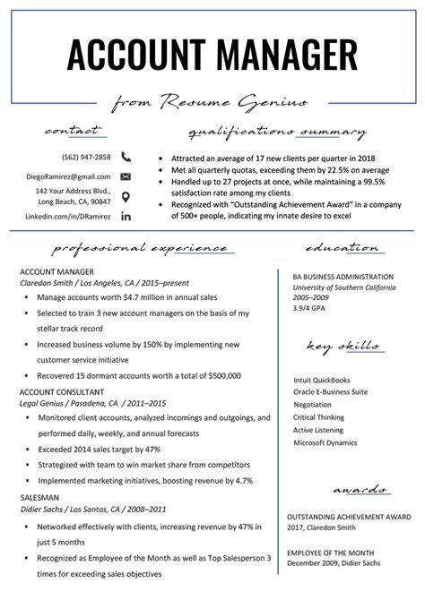 account manager resume sample writing tips resume genius