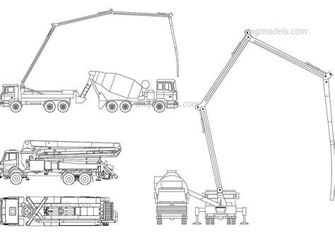 renault truck premium concrete pump trucks dwg free cad blocks download