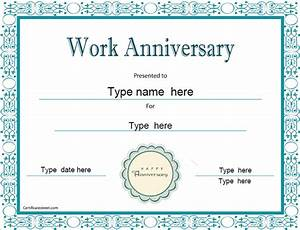 Special certificates work anniversary certificatestreetcom for Work anniversary certificate template