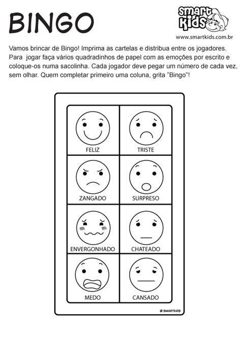 atividade emocoes bingo atividades smartkids
