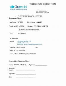 new visiting card request form With request letter for id card