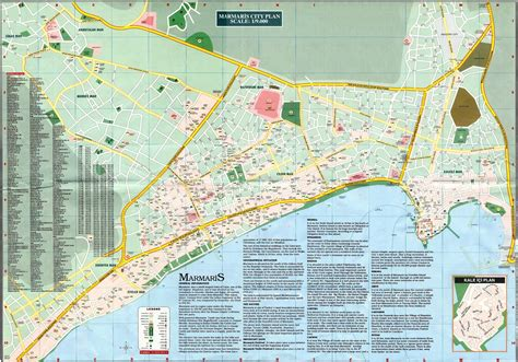 Подробная карта Мармариса с достопримечательностями не на русском языке, туристическая карта ...
