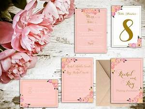 Blush and gold floral wedding invitation matching save for Wedding invitations with matching save the date