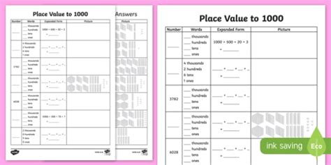 place value to 4 digits worksheet worksheet place value activity 10