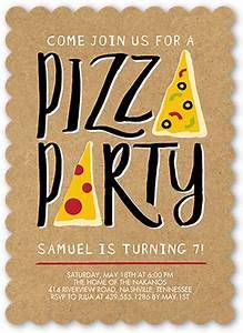 Pizza Party 5x7 Stationery Invite Boy Birthday
