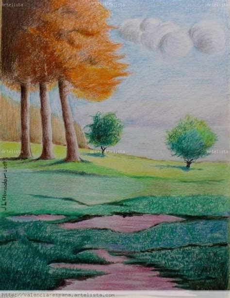 dibujos de paisajes  lapiz de color buscar  google