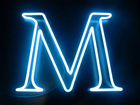 """The Letter M  14"""" X 17"""" White C8  Lite Brite Neon Studio"""
