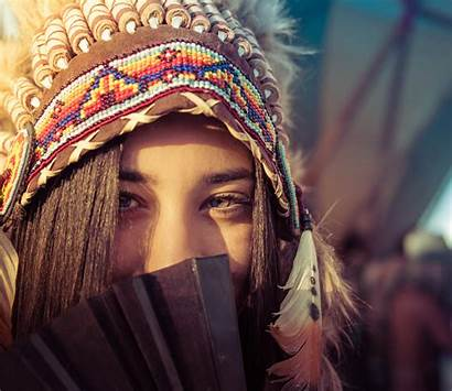 Native American Woman Multicolored Burning Daytime Hat
