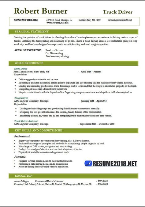 Resume Driver Doc by Truck Driver Resume 2018 Exles Resume 2018