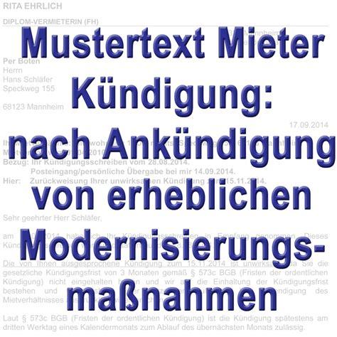 Modernisierung Wenn Der Mieter Modernisiert by Mustertext K 252 Ndigung Durch Mieter Nach Ank 252 Ndigung