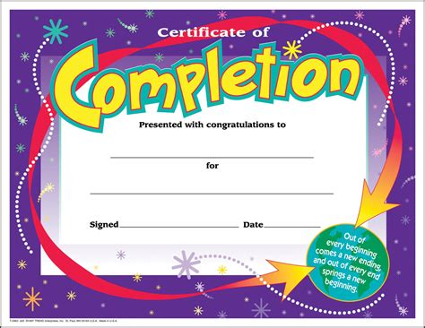 certificates of completion for kids 30 certificates of completion large certificate award