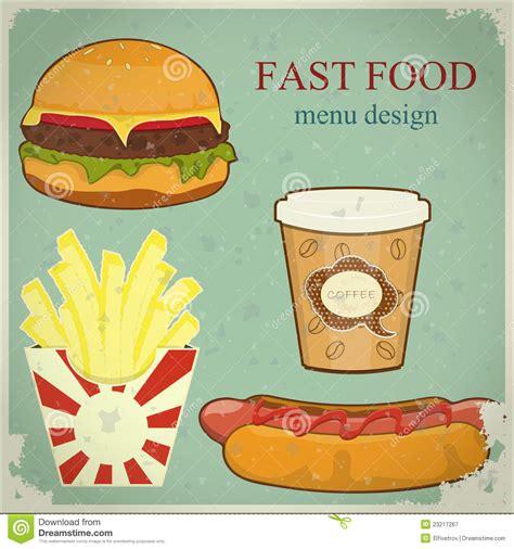 vintage cuisine vintage fast food menu stock vector illustration of fried