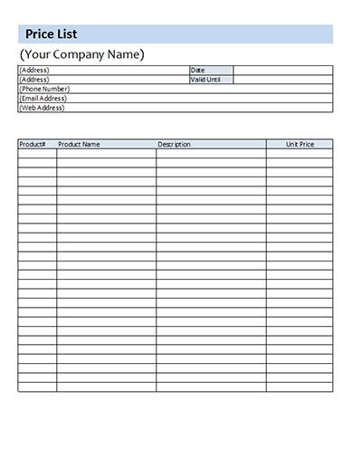 price template price list template microsoft excel xls