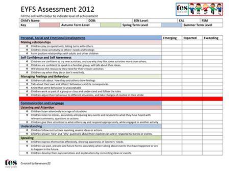 eyfs framework  assessment sheet  tesearlyyears