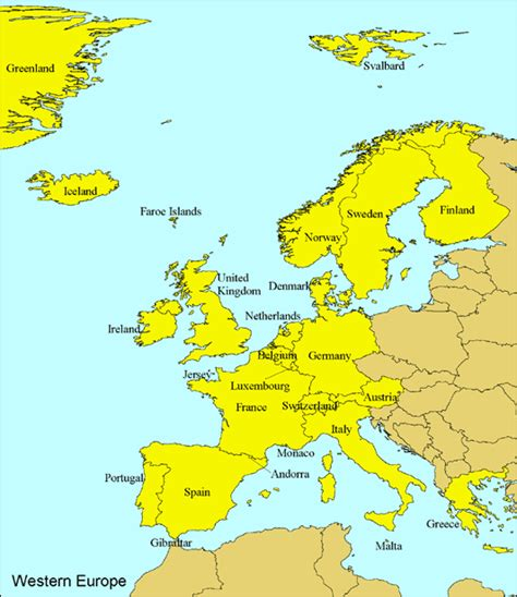 Europe Occidentale Carte by Maps Of Europe Countries