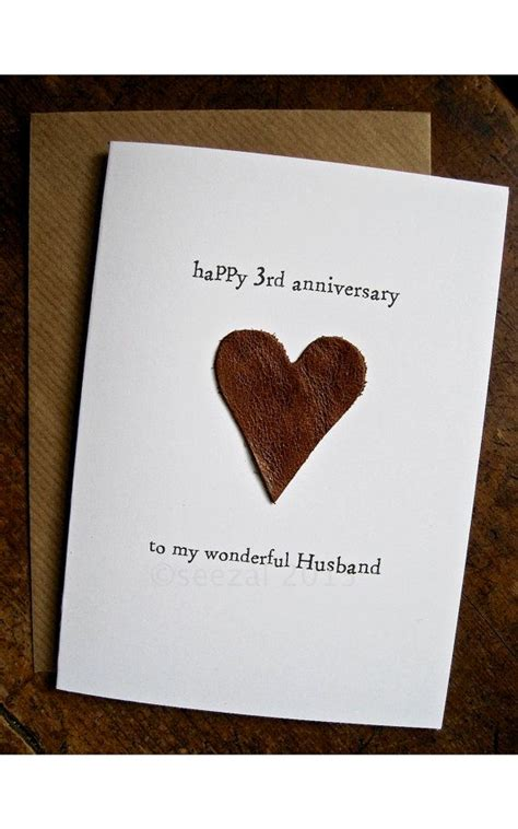 3rd year anniversary gift 3rd wedding anniversary card husband traditional gift leather handma