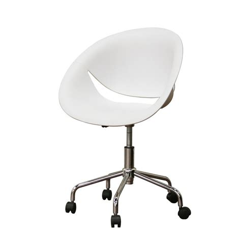 egg shaped white swivel desk chair with caster wheels as