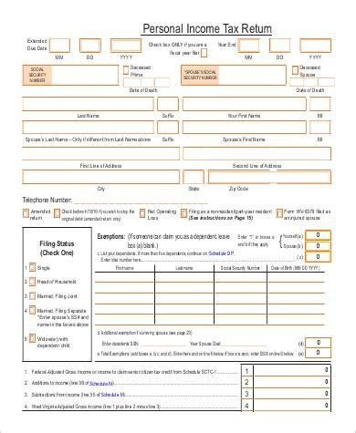 sle printable tax form 9 exles in word pdf