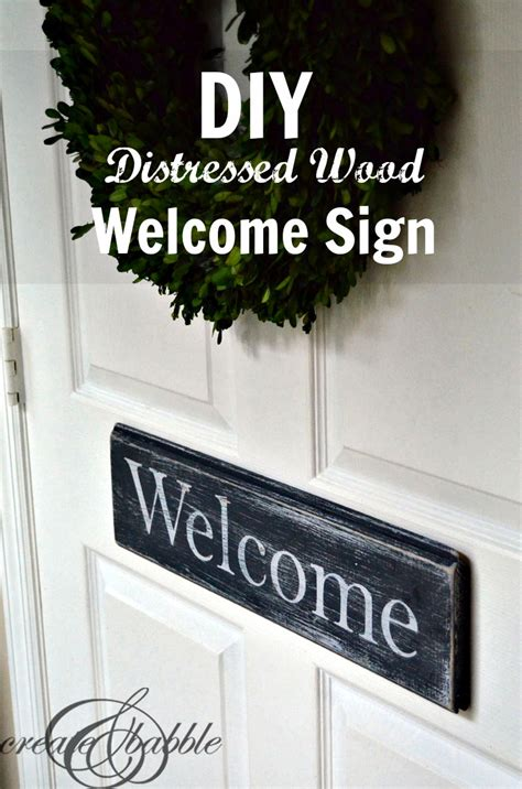 diy distressed wood  sign create  babble