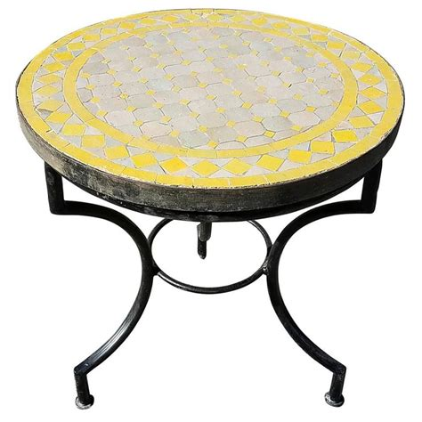 yellow table l base yellow tan moroccan mosaic table wrought iron base for