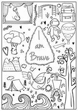 Coloring Brave Confident Printable Sheets Hopscotch Printables Strong Journal Colouring Asher Activities Bullet Bebe Crafts Abbildungen Tattoo Amazing Mantra Craft sketch template