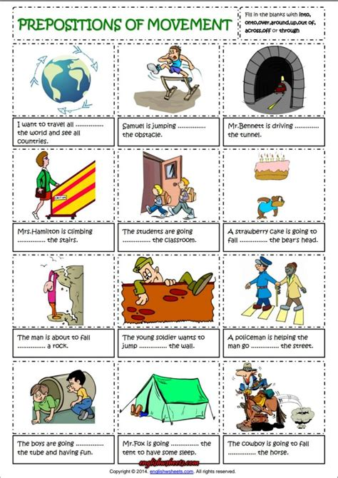 Prepositions Of Movement English Grammar Worksheet  Esl Printable Grammar Worksheet And
