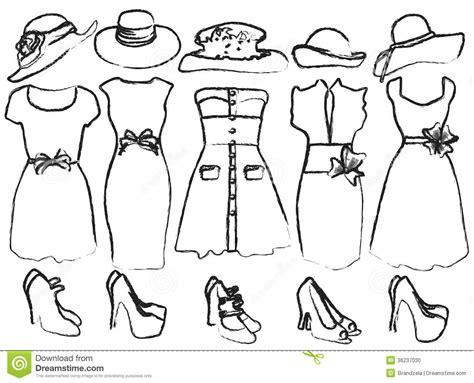 Kleurplaat Kledingstukken by Ontwerpen De Kleding Vrouwen Vector Illustratie