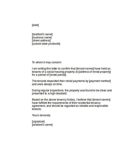 letter of recommendation for tenant 7 sle tenant recommendation letters sle templates 29369