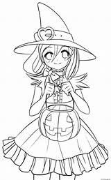 Coloring Witch Princess Pumpkin Autumn Printable sketch template