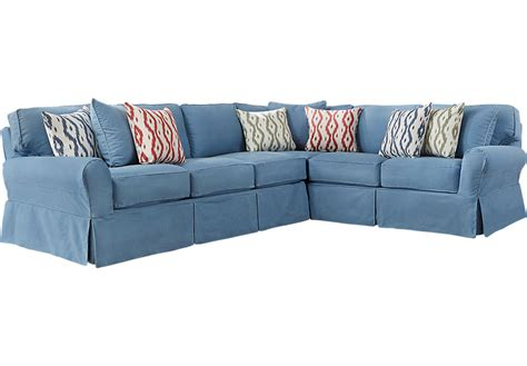cindy crawford slipcover sofa cindy crawford home beachside blue 2 pc sectional
