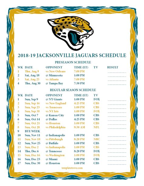 Printable 20182019 Jacksonville Jaguars Schedule