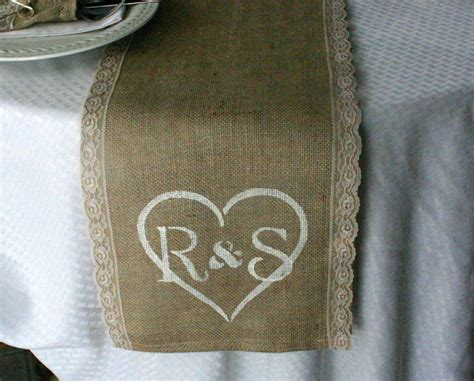 burlap table runner with lace burlap and lace table runners monogrammed table runner