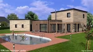 plan maison bois etage toit plat