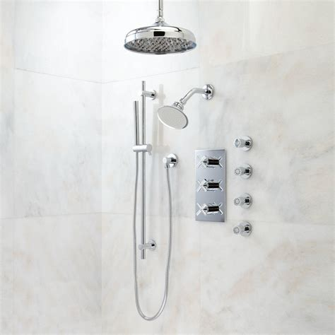 Exira Thermostatic Shower System   Dual Shower Heads, Hand