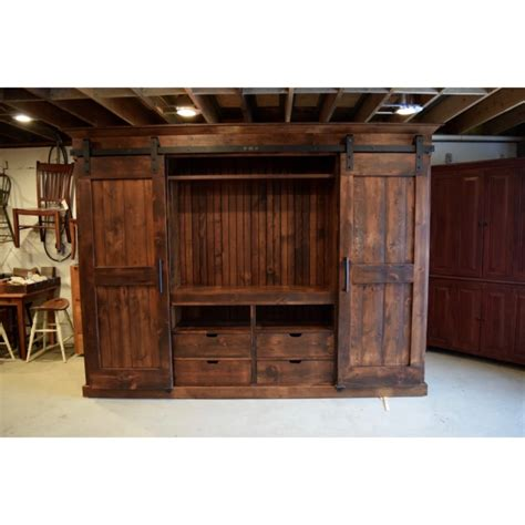 Furniture Cabinets With Doors by Open Shelves Barn Door Entertainment Cabinet Furniture