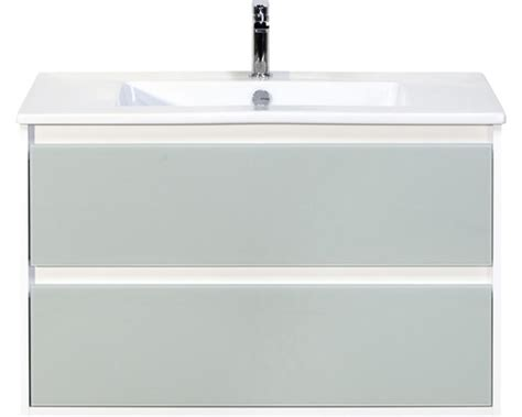 wastafelonderkast porto badmeubel porto wit hoogglans met glasfront 90x50 cm