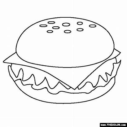 Coloring Cheeseburger Fast Pages Thecolor