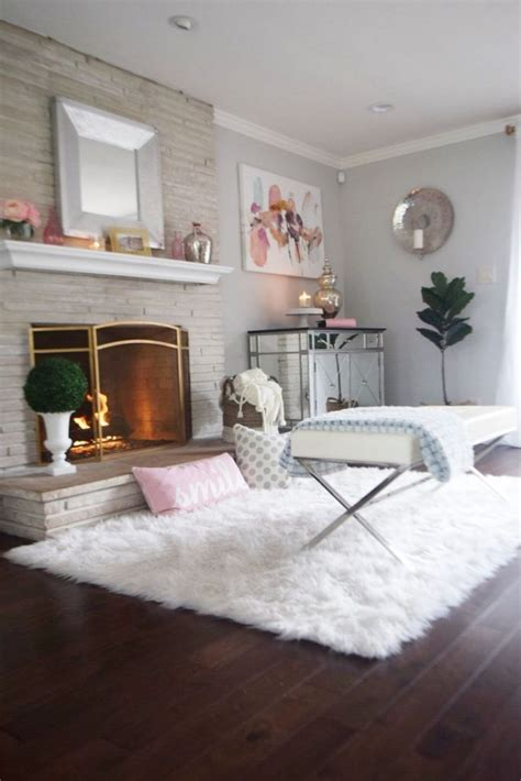 add  warmth   living room  fur rugs