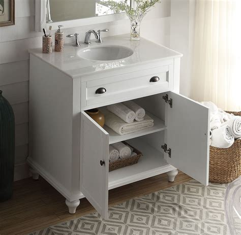 34 Inch Bathroom Vanity Beach Style White Color 34wx22
