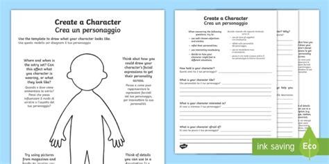 new creating a character activity sheets italian
