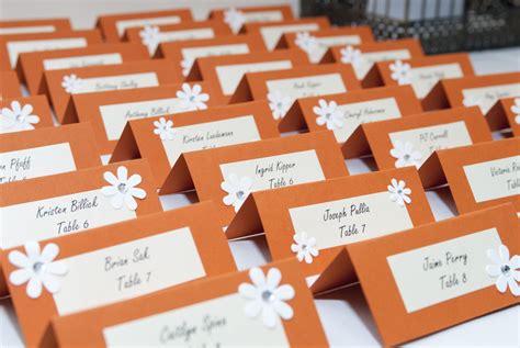 diy name cards table seating for wedding in orange