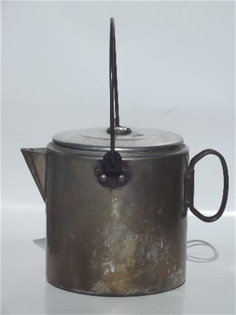 vintage campfire cookware coffee pot set packable camping mess kit   crowd
