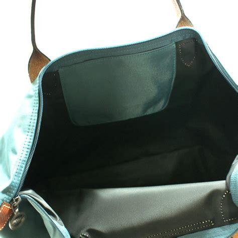 longchamp le place  medium shoulder tote bag duck blue