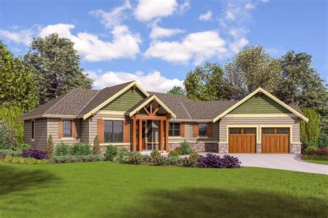 Split Bedroom Craftsman House Plan 69651am