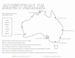map of australia worksheet education