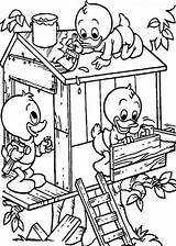 Coloring Treehouse Pages Colouring Build Louie Huey Dewey Tree Pollution Stop Drawing Boomhutten Houses Water Kleurplaten Fun Books Printable Air sketch template