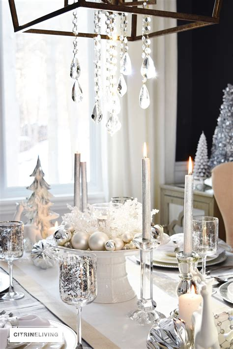 winter white  silver holiday tablescape