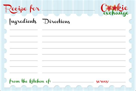 Cookie Exchange Recipe Card Template