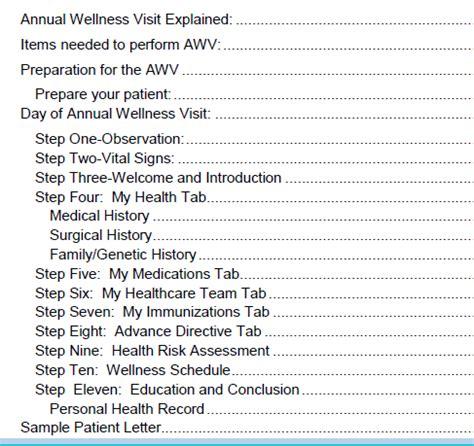 medicare annual wellness visit template medicare annual wellness visit templates screening forms